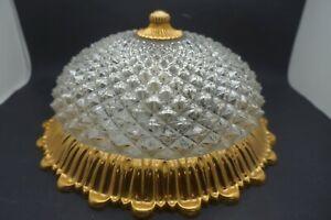 Lampe-Plafonnier-Ananas-Vintage-Verre-et-Bronze-Dore