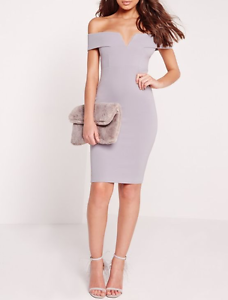 8ba43d4fbd91 Image is loading MISSGUIDED-v-front-bardot-midi-dress-ice-grey-