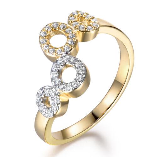 DOUBLE HUIT 8 Anneaux Argent /& Or Rempli Cristal Diamant Réglable Femmes Bague