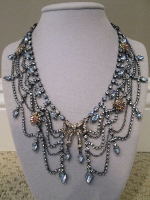 NWT Aut Betsey Johnson Enchanted Forest Crystal Spider Collar Statement Necklace