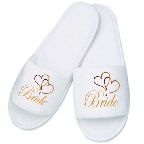 Mules Ideal for Weddings Honeymoon Home Bride Mum Personalised Heart Slippers