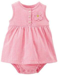 Baby & Toddler Clothing Girls' Clothing (newborn-5t) Carter's Baby Girl Sunsuit Dress Romper Pink Stripes With Flower 3m To 18m Relieving Heat And Sunstroke
