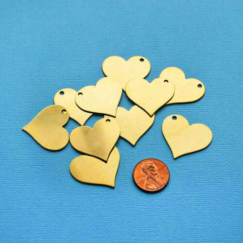 10 Copper Stamping Tags Hearts MT371