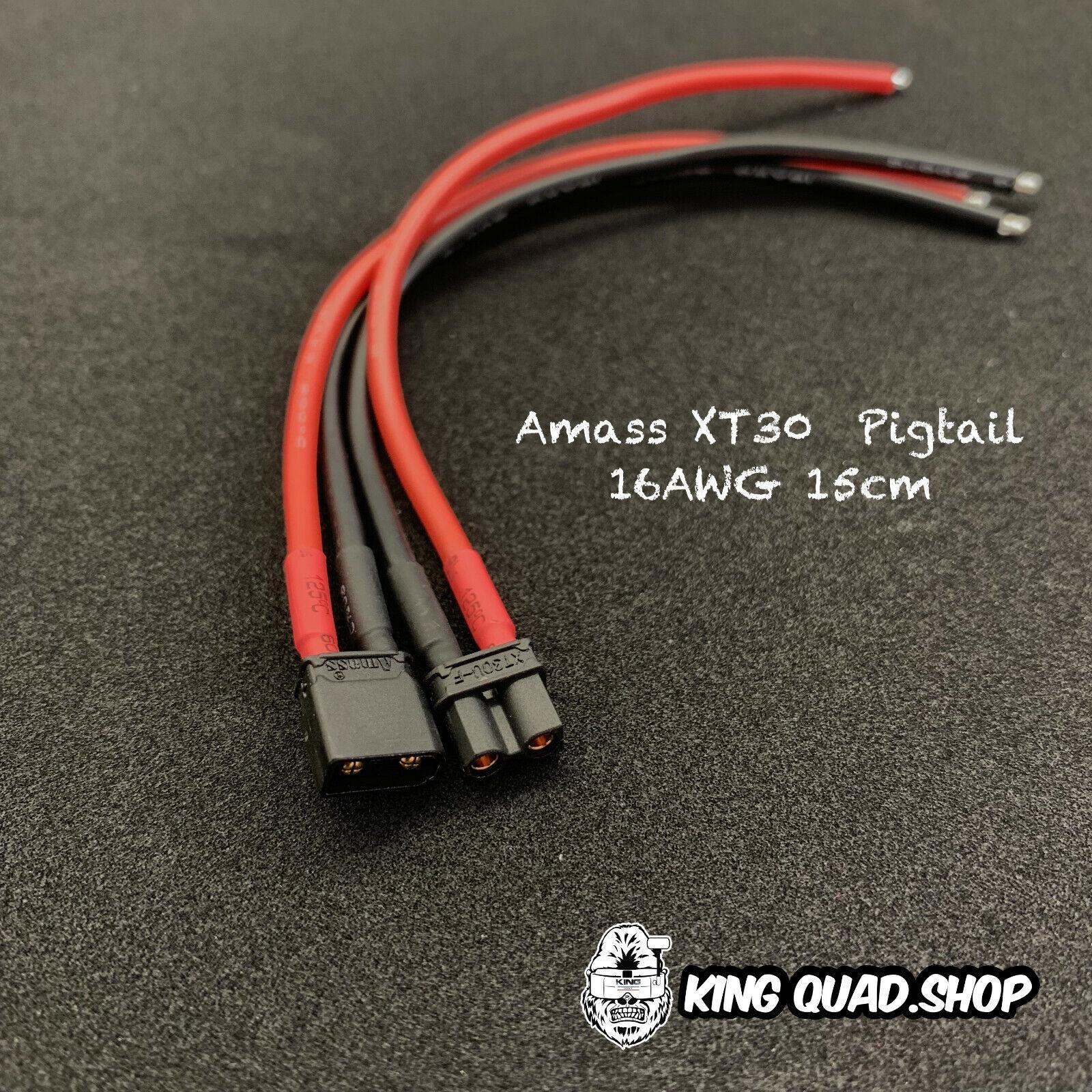 Amass XT30U Connector Plug with 16AGW silicone Wire 150mm (Black)