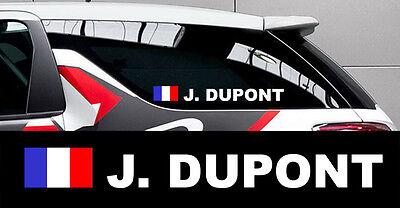 Jade White Drapeau Rallye Course Autocollant Sticker 003 Considerate 2 X Nom Pilote