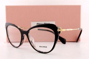 5fe4c8faad0 Brand New Miu Miu Eyeglass Frames MU 01QV ROK Black Gold ...