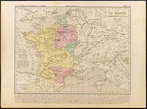 1859. Francia de Luis VII (Dijo el Joven). Mapa geográfica antigua Houze