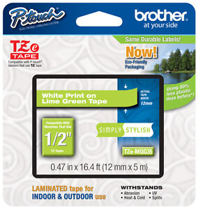 "Brother 1/2"" (12mm) White on Lime Green P-touch Tape for PT6100, PT-6100 Printer"