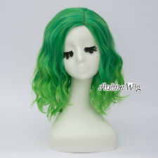 35CM Green Ombre Women Party Curly Synthetic Heat Resistant Lolita Cosplay Wig