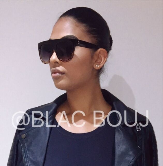a4b7f6b27c9e Celine flat top inspired leopard and black oversized womens sunglasses