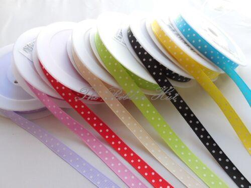 1 Mtr Lengths 10mm Woven Edge Single Sided Polka Dot  Ribbon 8 Colours