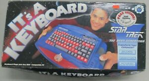 Star-Trek-The-Next-Generation-PC-Keyboard-Vintage-1994-Blue-Red-Rare-Paramount