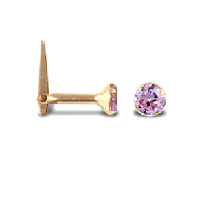 New Hallmarked Solid 9ct Gold Lilac CZ 3mm Solitaire Claw Set Hinged Nose Stud