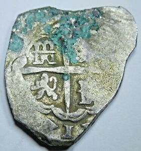 1600-039-s-Spanish-Silver-2-Reales-Piece-of-8-Real-Colonial-Pirate-Treasure-Cob-Coin
