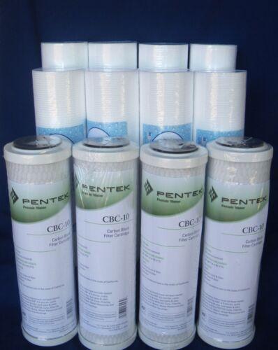 4 PENTEK CBC-10  0.5 Micron Water Filter Cartridge /&  8 x 1 Mic Sediment Filters