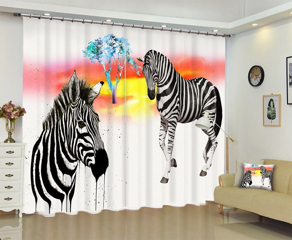 3D Pintura De Cebra 5 Foto Impresión De Cortina Tela Cortinas Blockout Ventana CA