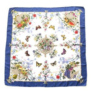 Vintage-Gucci-V-Accornero-Square-Silk-Scarf-Floral-Fruits-Butterflies-Blue-Auth