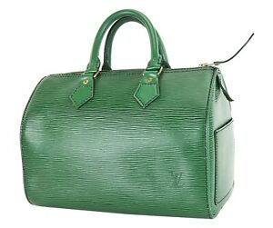 Authentic-LOUIS-VUITTON-Speedy-25-Green-Epi-Leather-Boston-Handbag-Purse-35588