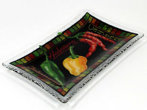 Peggy-Karr-CHILI-PEPPER-10-034-Rectangular-Plate-Dish-Tray-Fused-Glass-Rare-Mint