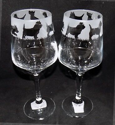 "Large Glass - Free Gift Box es New Etched Large /""CAIRN TERRIER/"" Wine Glass"