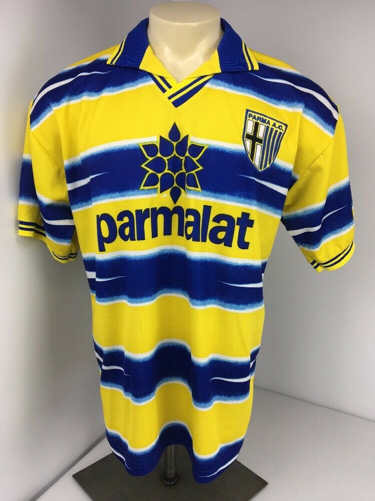 Lega Calcio Serie A CollaROT Stripe Futbol Soccer PARM AC Parmalat Jersey Shirt