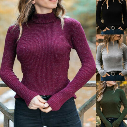 collo a polo di blusa collo della donne alto maglia del delle pullover lavorato delle collo signore del di alto del Unito Maglione Regno Plian del HxT7wEHq