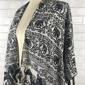 Bohemian-Elephant-Black-Kimono-Cardigan-Or-Bikini-Cover-One-Size-New