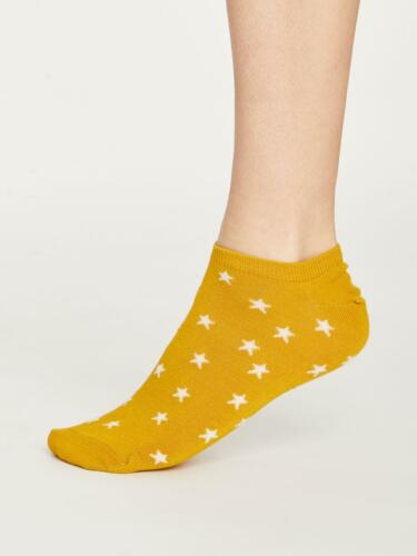 Womens Soft Bamboo Starry Trainer Socks Mustard Size 4-7 by Thought