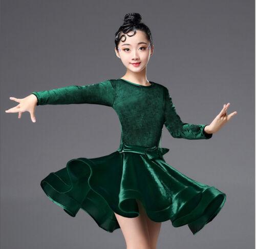 Girls Latin Salsa Dance Dress Ballroom Costume Competition Dancewear Children