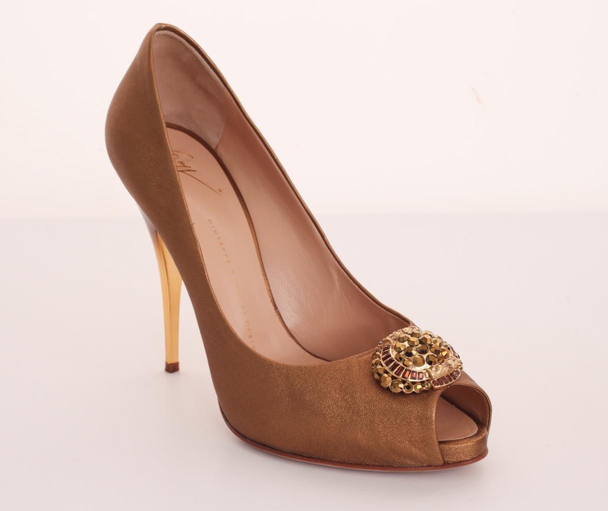 GIUSEPPE ZANOTTI oro Cristallo Jeweled  Knot High Heel Peep -Toe Pump Sandal 10 -40  la vostra soddisfazione è il nostro obiettivo