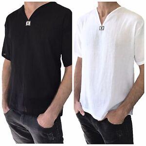Men-039-s-Short-Sleeve-Shirt-100-Cotton-Summer-Hippie-Shirt-Casual-Beach-Yoga-Top