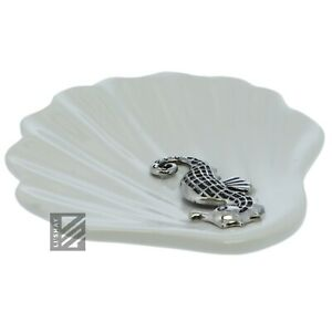 White Ring Trinket Tray Clam Shell w/Sea HorseCeramic Jewelry Treasure Holder