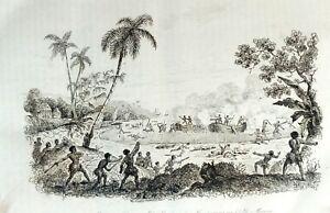 AMERICAN-SAMOA-TUTUILA-LANGLE-MASSACRE-Original-1835-Antique-Print