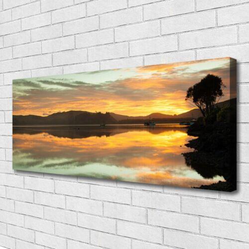 Leinwand-Bilder Wandbild Canvas Kunstdruck 125x50 Wasser Gebirge Landschaft