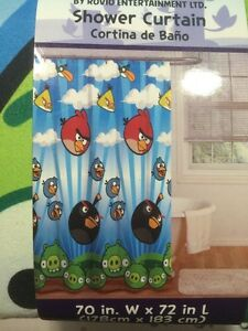 Image Is Loading Angry Birds Shower Curtain Fabric Rovio Bath Bathroom