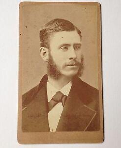 Antique-Photo-CDV-Rochester-NY-Sherman-amp-LeClear-Cabinet-Card-Man-Photograph