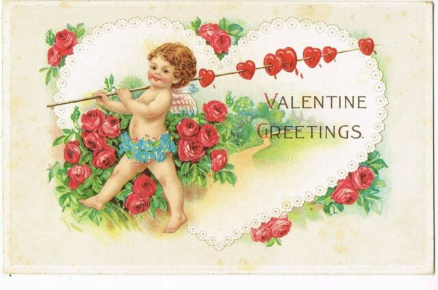 ANTIQUE EMBOSSED VALENTINE Postcard   CUPID CARRYING HEARTS ON ROD, ROSES
