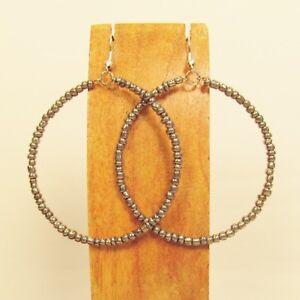 2-034-Silver-Color-Lightweight-Single-Hoop-Bohemian-Handmade-Bali-Seed-Bead-Earring