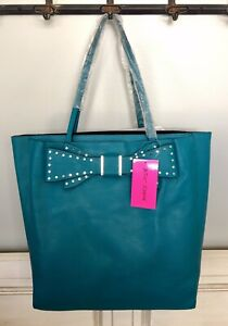 Betsey-Johnson-Stud-Bow-Structured-Large-Shoulder-Tote-Bag-RP-128-Teal-NWT