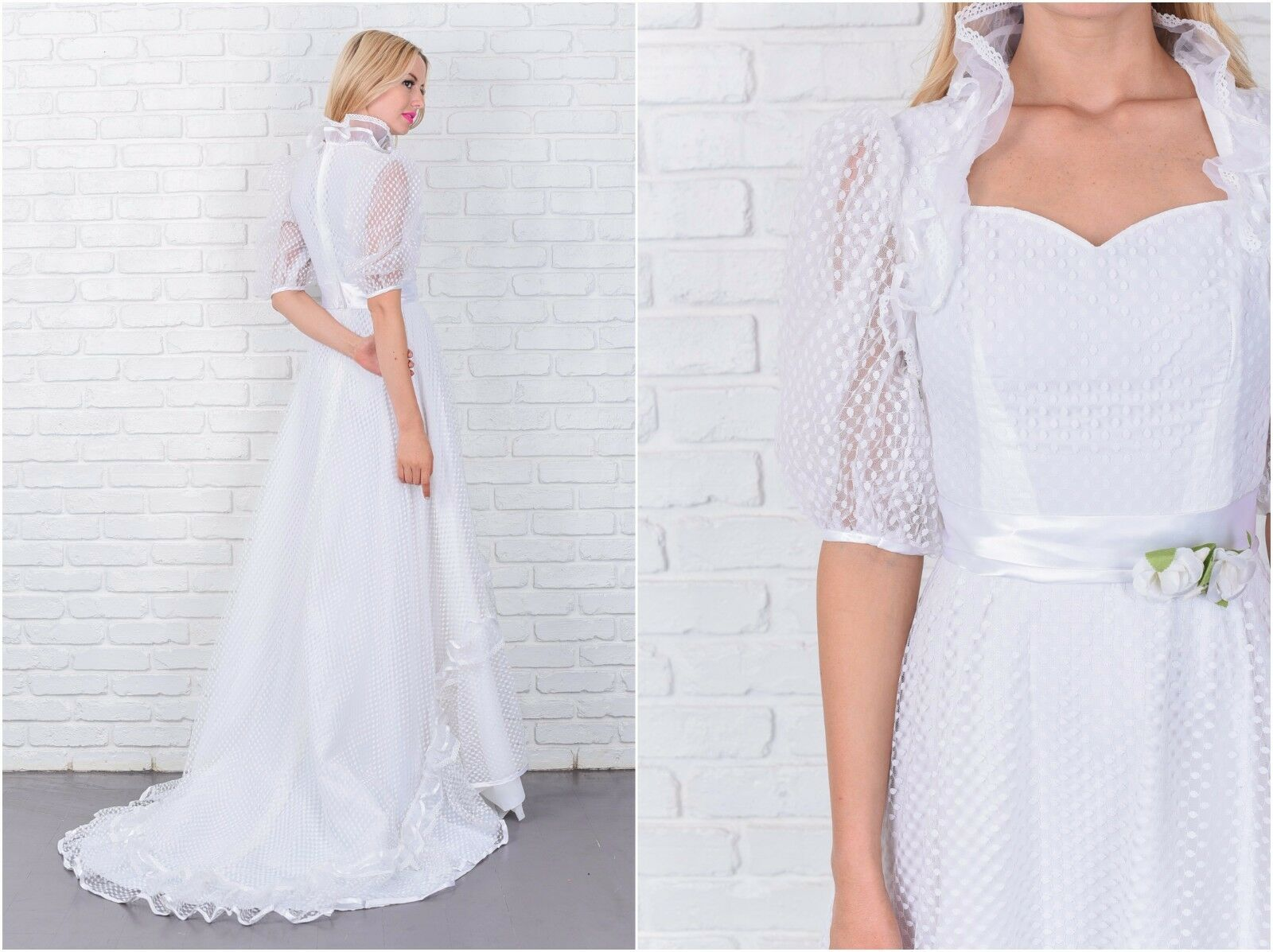 Vintage 80s Wedding Dress Victorian Puff Sleeve Dot Lace Ruffle Train XXS