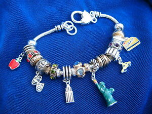 Image Is Loading New York City Euro Slider Charm Bracelet Silvertone
