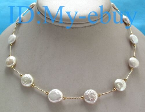 13mm White Rainbow Coin Freshwater Pearl Tin Cup Necklace 14K GP