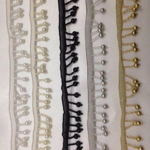 Pearl Beaded Fringe Trim Sewing Bridal Wedding Costume Crafts Corsetry 3cmX1Yard