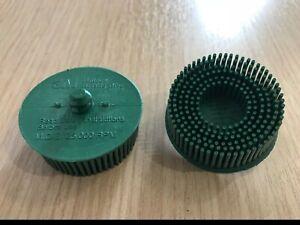 """2/"""" 3M 18730 Scotch Brite Roloc Green Bristle Disc 50 Grade 1 disc"""