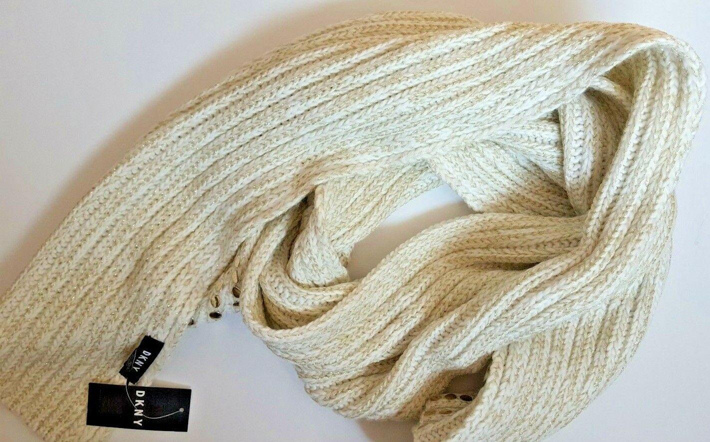DKNY Women/'s Knit Scarf Chunky Knit Beige Gold Thread Studded Acrylic Blend NEW