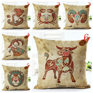 Image Is Loading 12 Zodiac Signs Cushion Cover Pillowcase Sofa Home