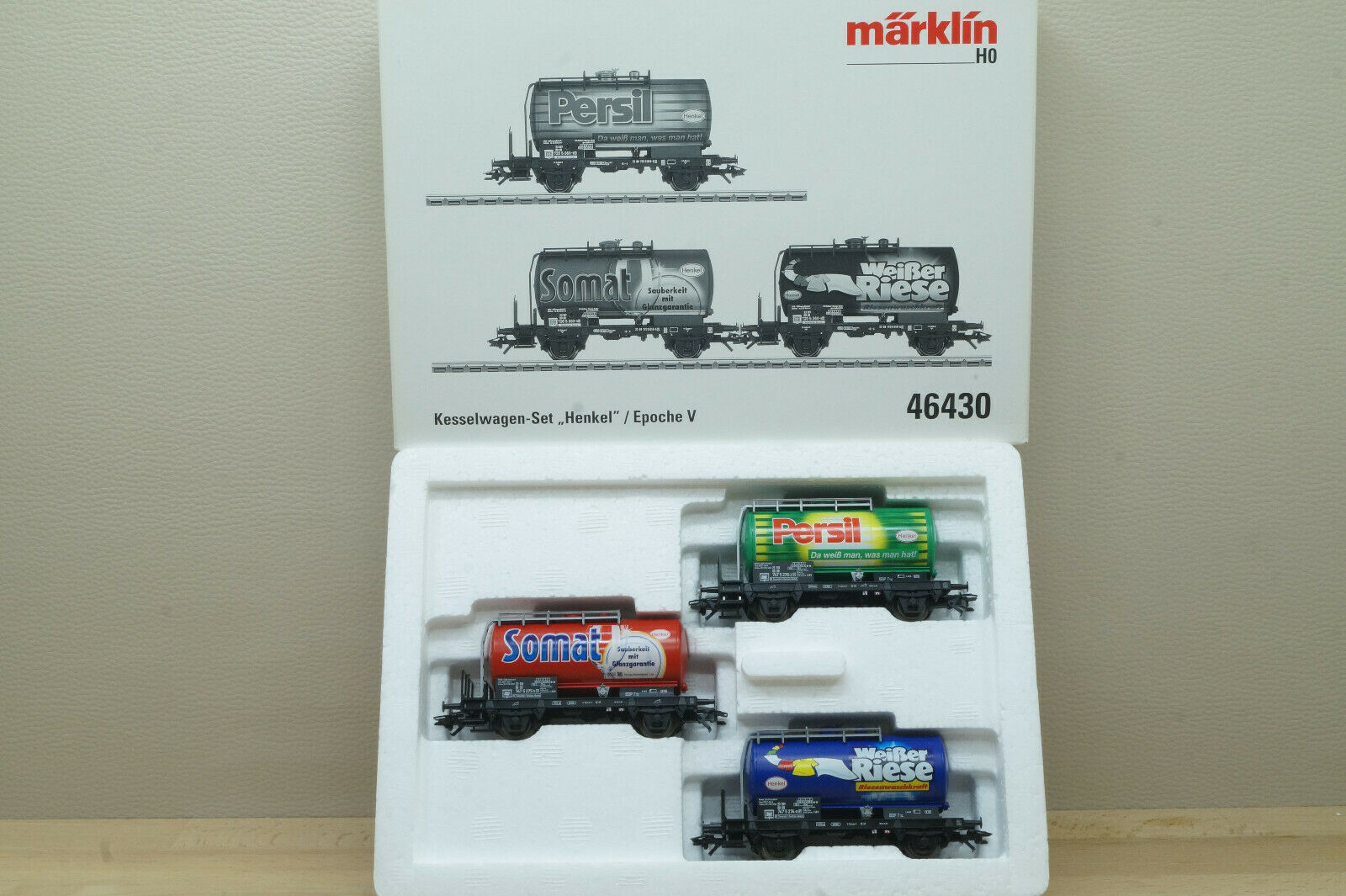 marklin 46430 Set di Vagoni Merci 3 Cisterna  Henkel  Persil,Somat Bianco