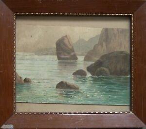:: Oil PAINTINGS ° Rocks Landscape Sea Mediterranean ° Impressionism Antique