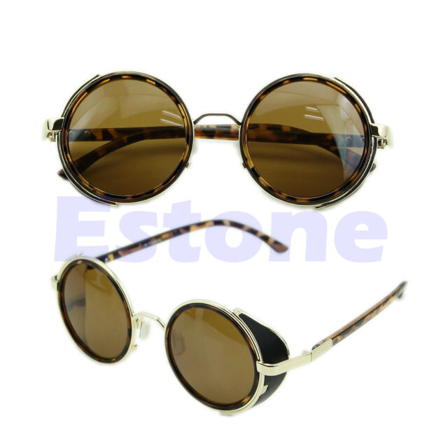 Men Women Fashion Retro Style Round Glasses Cyber Goggles Steampunk Sunglasses