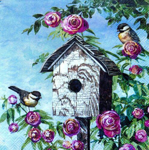 4 papel de Almuerzo Servilletas Para Decoupage Mesa de Fiesta Artesanía Vintage Magic Birdhouse
